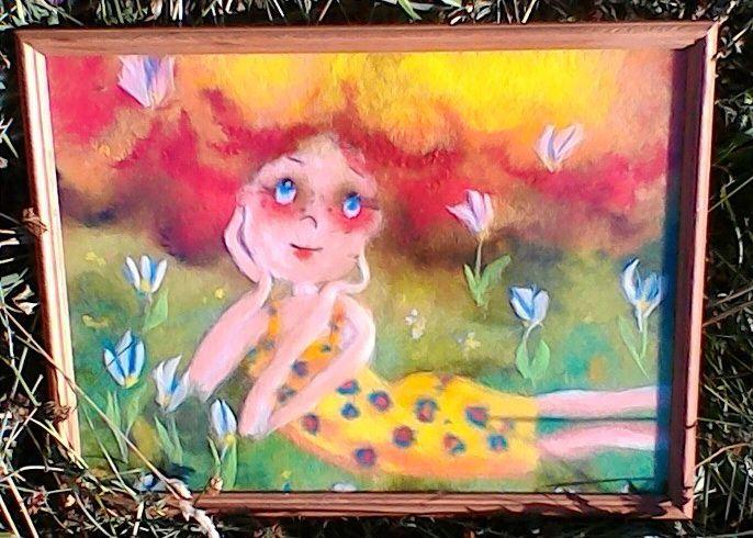 Картина девочка на луге