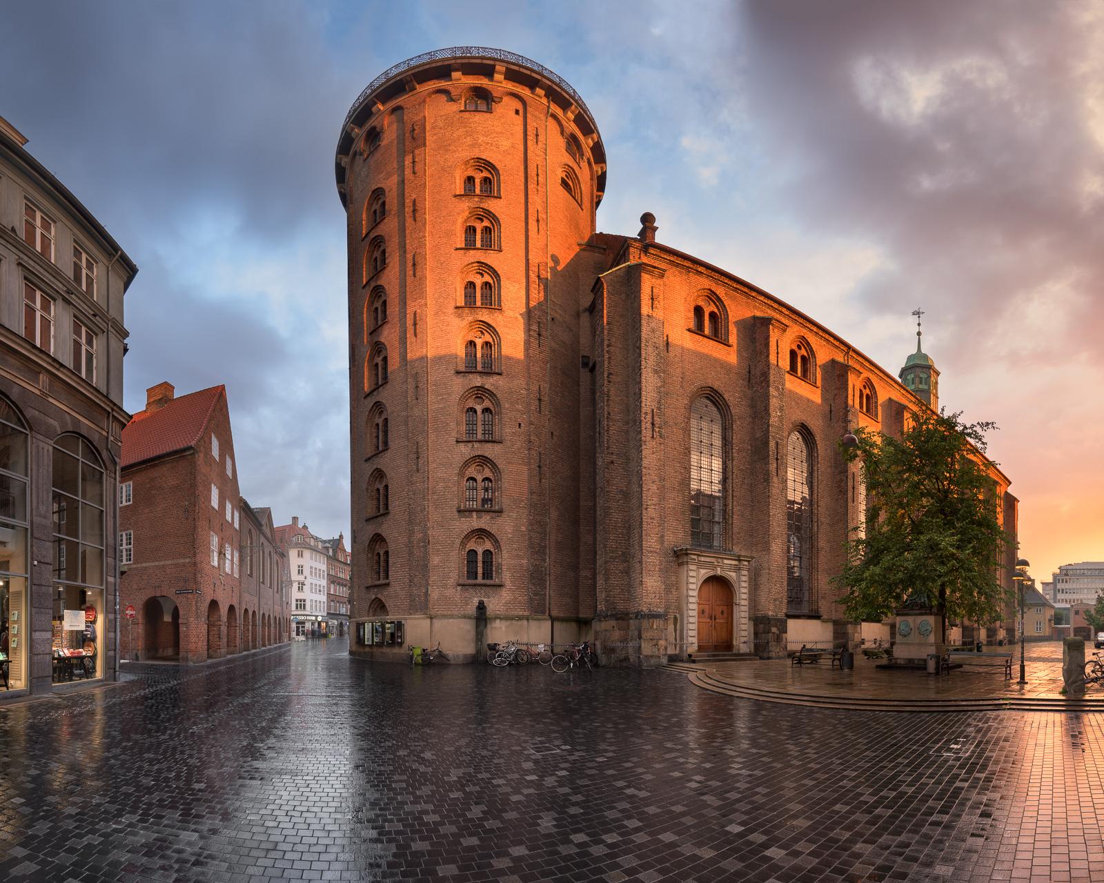 Panorama of the Round Tower in the Morning, Copenhagen, Denmark.jpg