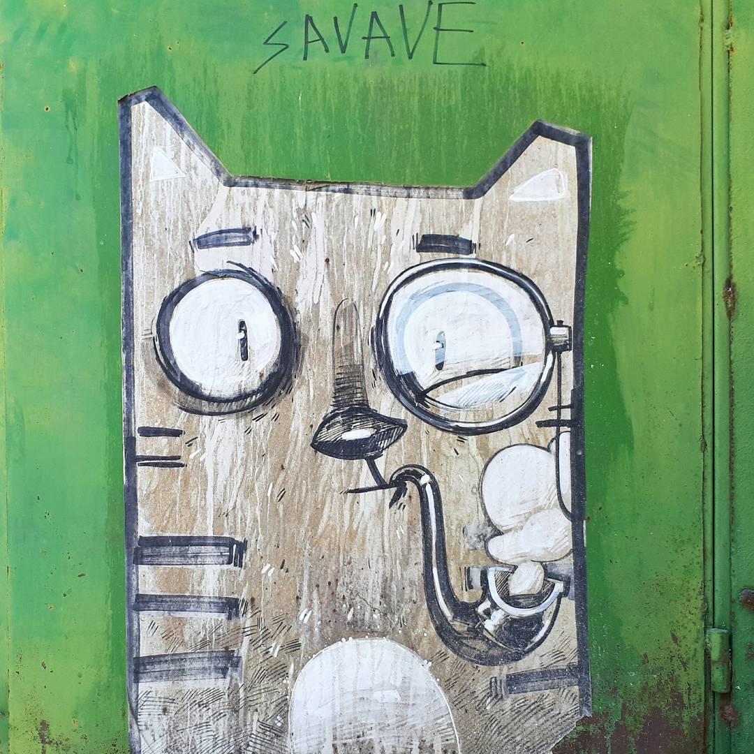 кот граффити