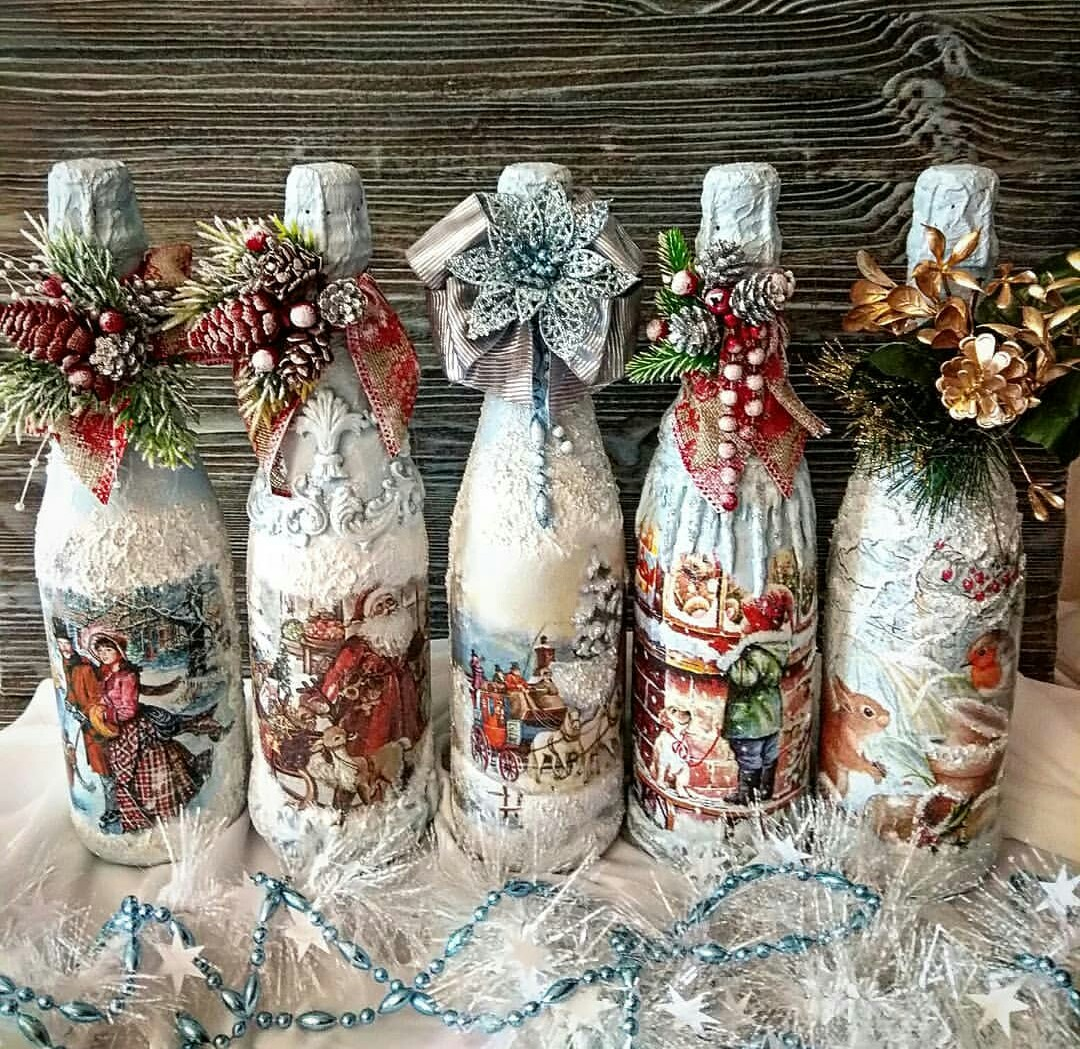 декупаж новогодних бутылок шампанского фото помощью ножниц