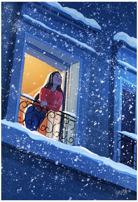 на балконе девушка