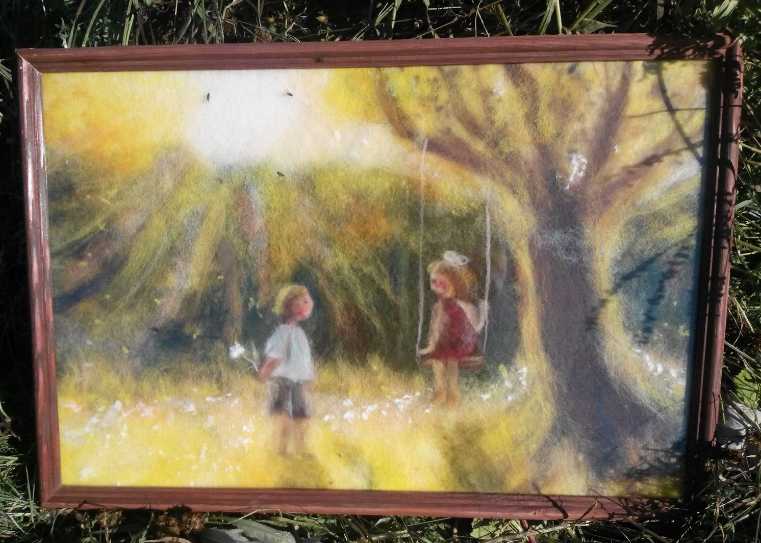 Картина дети и качель