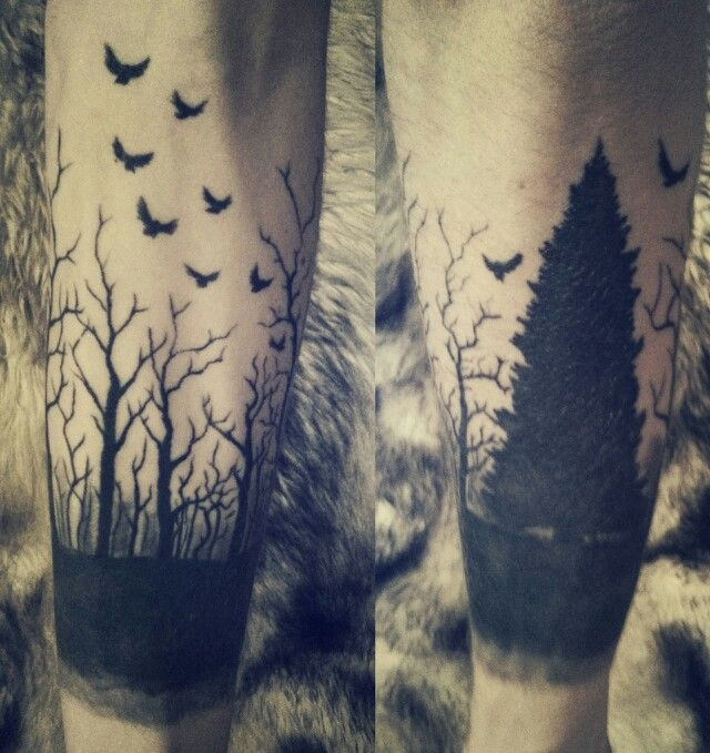 Black-Flying-Birds-And-Forest-Trees-Tattoo-On-Arm.jpg