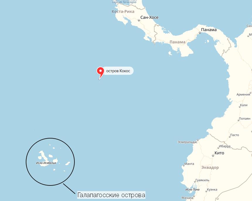 Галапагосские острова и остров Кокос. Между ними и вокруг них - куча маленьких островов-часовых, по которым передвигались торговые суда и пираты. Ниже находится побережье Чили..png
