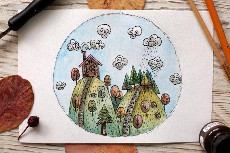 Рисовать семью в лесу