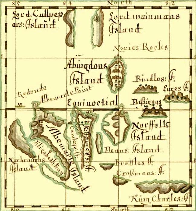 Карта Галапагосских островов, конец XVII века.png