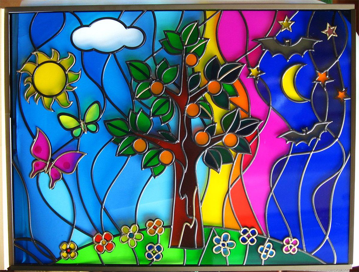 Красивые сказочные рисунки витражными красками