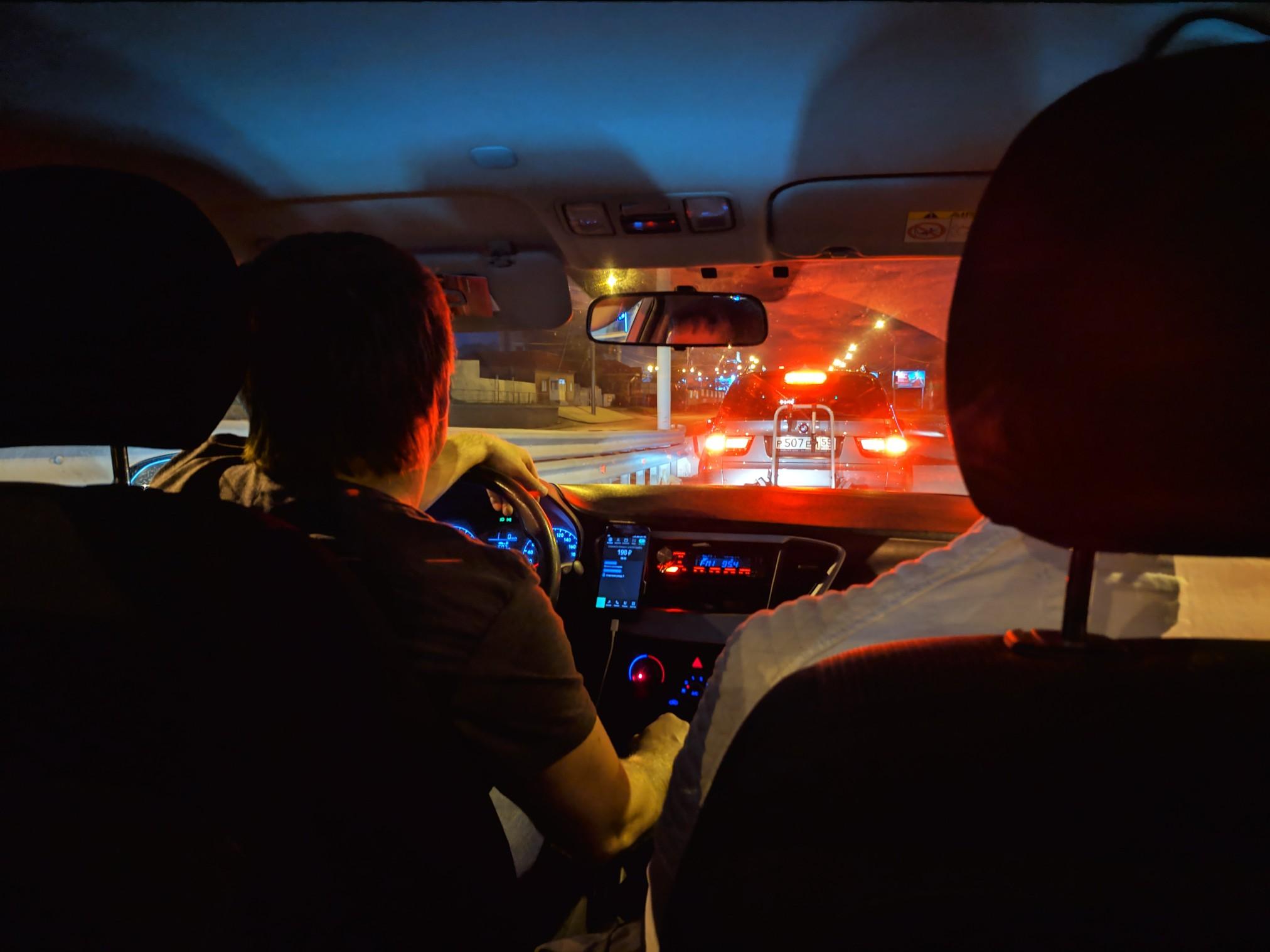 урок фото в такси ночью с заднего сидения вру