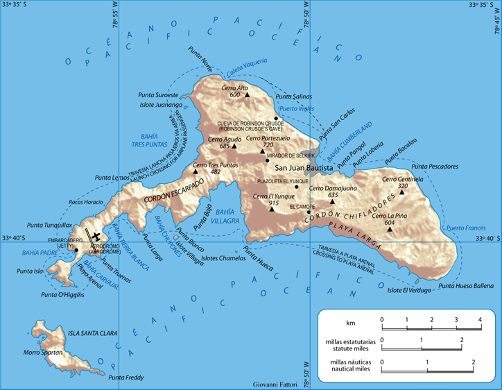 Остров Робинзона Крузо на карте юго-восточного Тихого океана. Побережье Чили.png