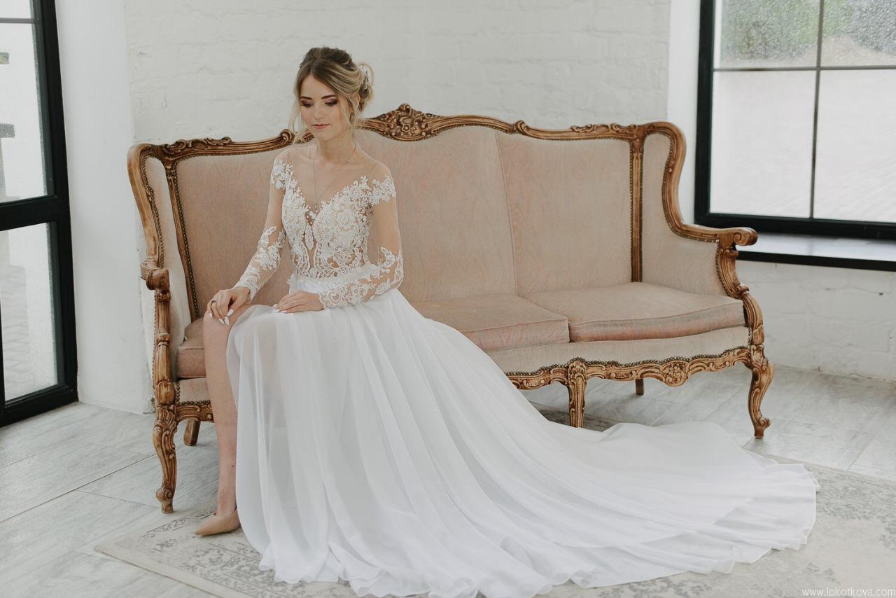 Шили Свадебное платье для очаровательной невесты из Казани. Провели фотосессию в студии